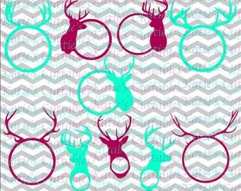 Deer Head Monogram Frames, Deer Antlers Monogram Frames, .SVG/.DXF/.EPS and .Png Files for EveryVinyl Cutting Machine