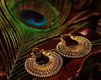 Beautiful Parvati Goddess Ethnic Brass Hoop Earrings