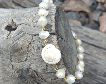 Freshwater Pearl and Shell Anklet with Gold Finish