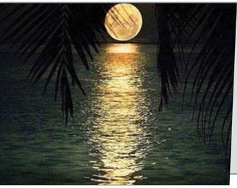 full moon - moon - golden moon - midnight moon greeting card - 4x5 blank card