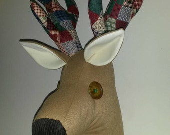 Reindeer head, faux taxidermy stuffed fabric deer head,  trophy head, reindeer wall hanging, reindeer wall mount Stunning conversation piece