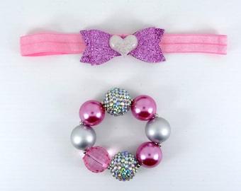 Bubblegum Bracelet & Headband Set, Girl's Chunky Bracelet Set, Girls Jewerly, Photo Prop Girl Bracelet