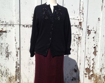 Vintage 1980's Aubergine Raisin Wool Skirt *  Size Extra Small * Evan Picone