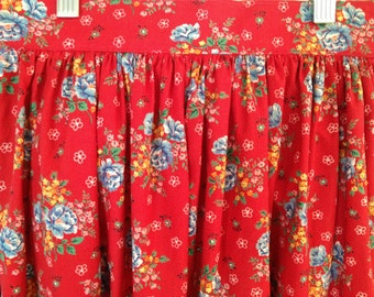 Vintage 1970's * 80's Floral Skirt * Red and Blue *  Waist 25 *  Small