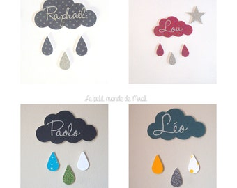 Decoration little cloud and its raindrops customizable name wood and fabric
