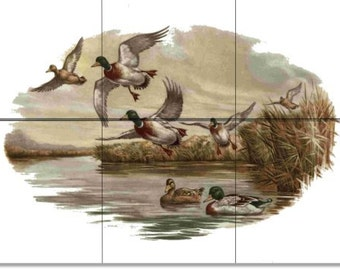 Pond tile etsy for Duck pond mural