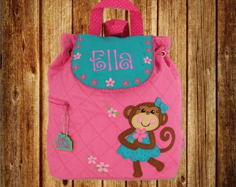 Personalized Stephen Joseph Quilted Backpack- Girl Monkey