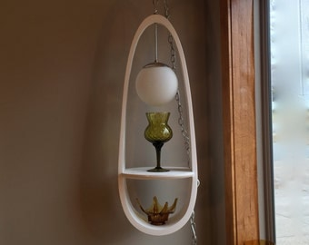 Mid Century Globe Swag Lamp with Shelf, in style of Milo Baughman