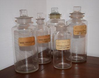 Vintage, Scottish Apothecary Bottles, c 1920s