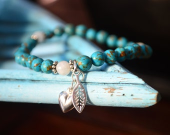 Blue mosaic turquoise and moonstone bracelet with sterling silver heart and leaf charms