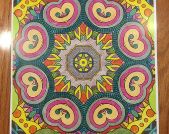 mandala art print from original self colored design