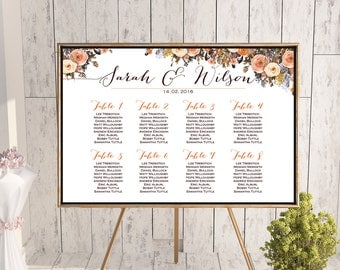 Fall Autumn Find your Seat Chart, Printable Wedding Seating Chart, Wedding Seating Poster, Seating Sign, Wedding Seating Board wd82 WC74