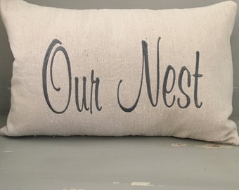 Our Nest Pillow Cover Embriodered On Canvas Material