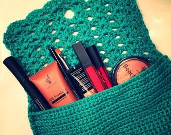 Crochet Makeup Bag, Crochet Clutch, Faux Lace Clutch