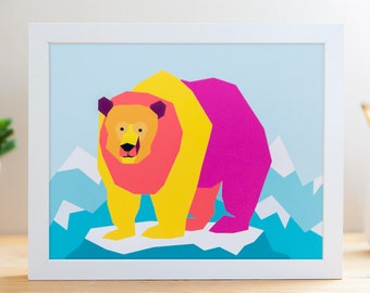 "Rainbow Grizzly // 8x10"" Archival Print"