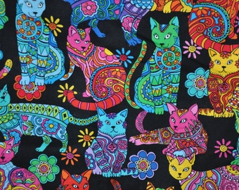 New!  1/2 Yard of Black Colorful Paisley Cats 100% Cotton Quilt Fabric