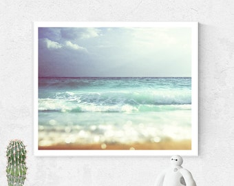 Beach Photo, Wall Art, Ocean photography, Printable Wall Art, Tilt shift, Ocean wall art, Summer print, Instant Download, Ocean print