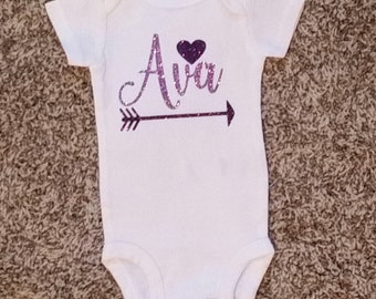 Name with Heart and Arrow Onesie
