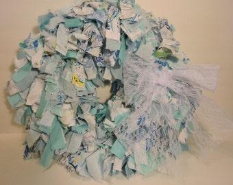 Blue Rag Wreath- Shabby Chic Wreath- Cottage Wreath- Door Wreath- Fabric Wreath