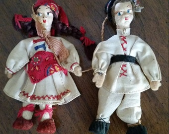 Cloth Dolls Christmas Ornaments Attached Boy and Girl Man and Woman Gypsy Romanian Dolls