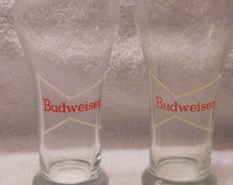 Vintage Pair of Budweiser Glasses White Bow Tie 8oz