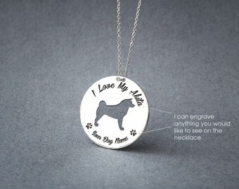 Personalised AKITA DISC Necklace • Akita Inu • Akita Necklace • Name Necklace • Disc Necklace • Custom Necklace • Dog Necklace • Dog