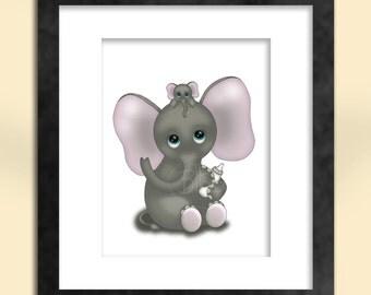 Cute Elephant with Baby Art Print