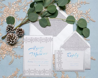 Glitter Snowflake Winter Wedding Invitation Suite // Classic Elegant Traditional Wedding // RSVP Reply Card