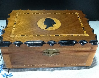 Antique Silhouette  Victorian Inlaid Walnut Keepsake, Jewelry or Sewing Box