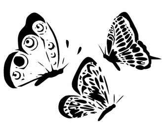 "5.8/8.3"" Butterfly side view stencil collection. A5"