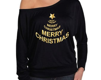 Merry Christmas Tree. Slouchy Off The Shoulder Christmas Shirt. Funny Christmas T-Shirt. Stylish Christmas Jumper. Happy Holidays.