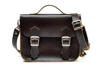 Brown leather briefcase - College mini