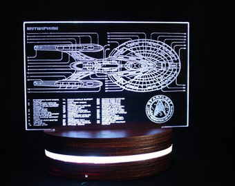 Star Trek Enterprise Lamp inspired Acrylic Light, Colour Changing LED Desk Lamp, Faux Holographic Plate Detailed Starfleet Starship Diagram
