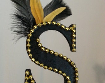 """Gatsby / Roaring 20's Black & Gold letter """"S"""" cake topper"""