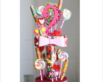 Candy Land two tier Jellybean and Lollipop Birthday Cake Topper