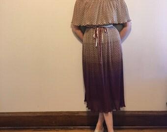 Vintage Maroon Patterned Dress