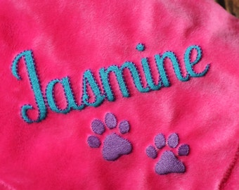 Personalized Dog Blanket with Embroidered Name