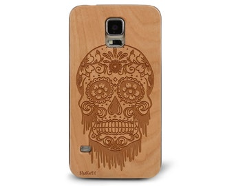 Laser Engraved Floral Bloody Sugar Skull Day of the Dead Plumeria and Mandala on Genuine Wood phone Case for Galaxy S5, S6 and S6Edge S-041