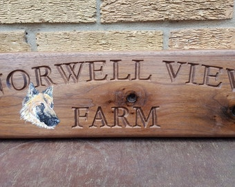 Custom Made Black Walnut Engraved House Address Sign House Number Plaque With Hand painted Portrait Pets Flowers Hardwood Gate sign