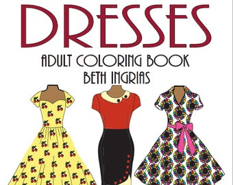 Adult Coloring Books: Vintage Dresses 30 Designs Digital Download Calming, Soothing Fun Colouring Pages