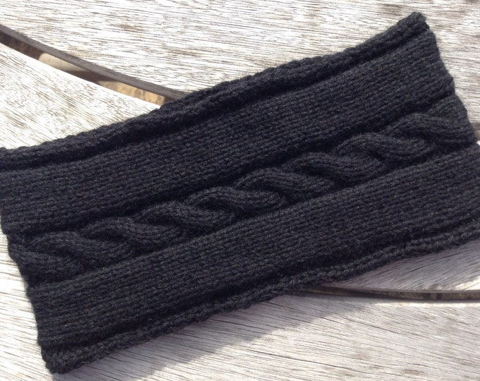 NEW - Ladies black pure cashmere headband / ear warmer by Willow Luxury ( one size)