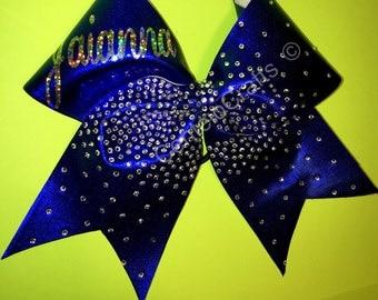 Personalized rhinestone cheer bow