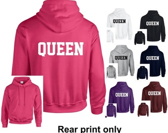 Queen Adults Hoodie Hooded Sweatshirt - Funny/Novelty/Gift/Athletic/Varsity/Newlywed/Wife