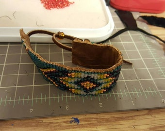 Beaded Bracelet - tribal pattern with leather back