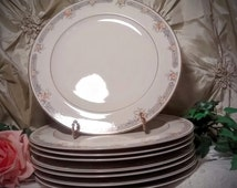 SANGO China Monroe 7 salad plates, marked Regency Collection 1500 Japan,  taupe and peach floral design, gold trim