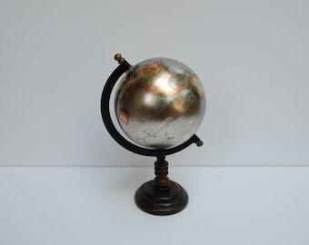 5 inch metallic globe on wood base