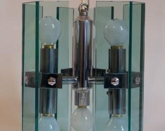1970s Fontana Arte style blue glass and chrome chandelier light vintage