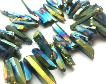 1 Strand Titanium Crystal Quartz Drilled Beads Natural Crystals Rainbow Gold Aurora Quartz Bead Titanium Plated Stones Approx. 8inch strand