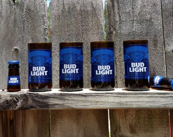 Set of 4 upcycled Bud Light glasses and 2 shot glasses