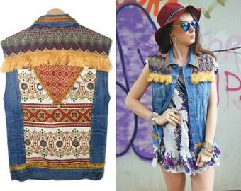 custom vintage upcycled bohemian denim jeans tribal patch
